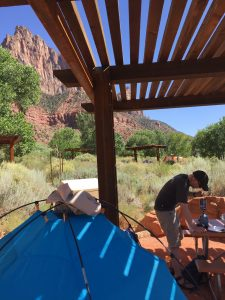 Peter making us lunch in Zion.