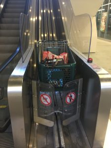 The escalator spitting out my grocery cart at the bottom. I was so excited I had to take a picture.