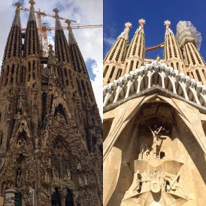 A comparison of the new and old sides of Sagrada Familia