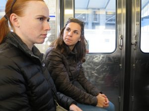Cynthia teaching me how to be tough on the metro. Just kidding, Peter caught my repulsed expression as Cynthia told me a woman's purse cost several thousand dollars.